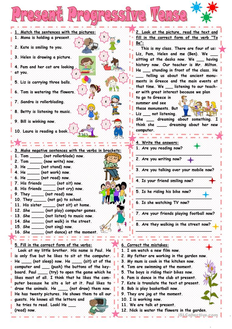 medium resolution of Present Continuous Tense Worksheets