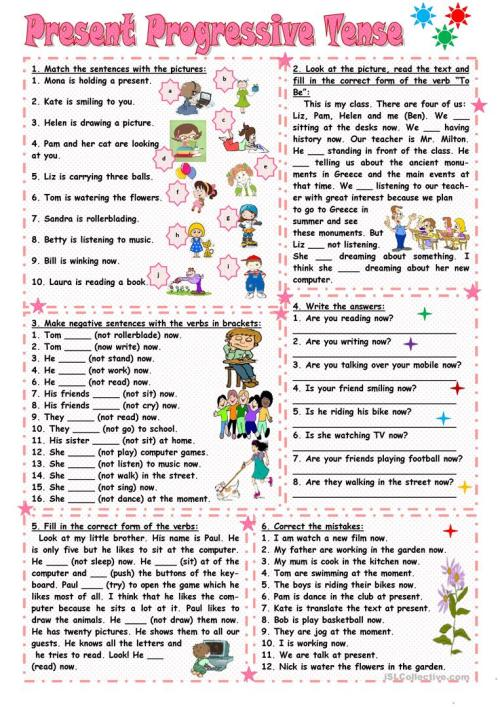 small resolution of Present Continuous Tense Worksheets