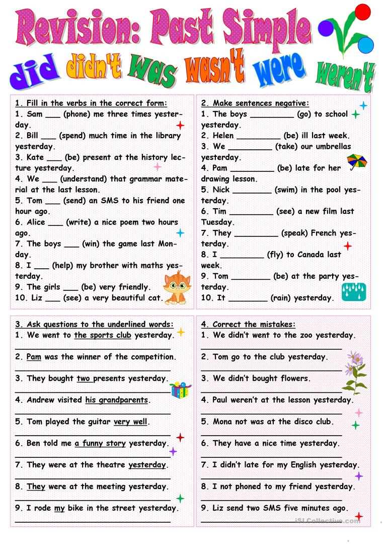 Past Simple Revision English Esl Worksheets – Cute766