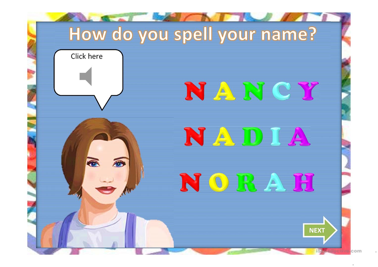 Spelling Names Worksheet