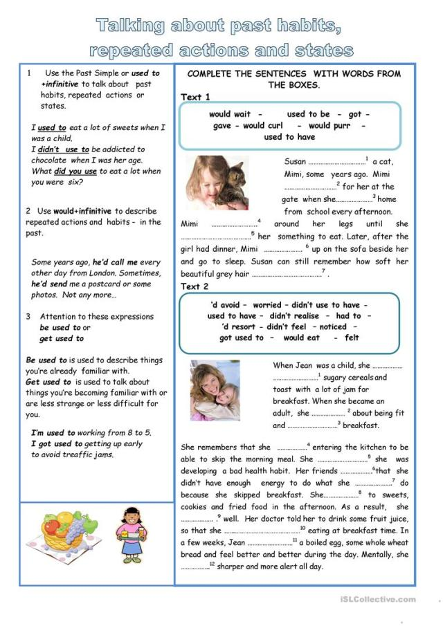 Will - Would - used to - English ESL Worksheets for distance