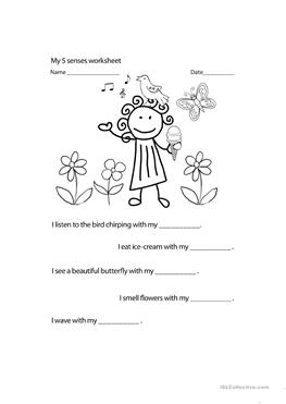 12 FREE ESL 5 SENSES worksheets