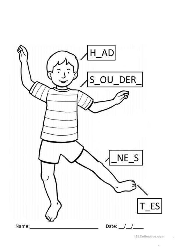English Worksheets Head Shoulders Knees And Toes