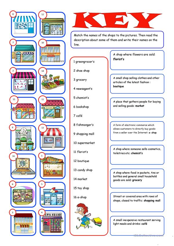 Shopping (Reading&Matching) - English ESL Worksheets for distance learning and physical classrooms