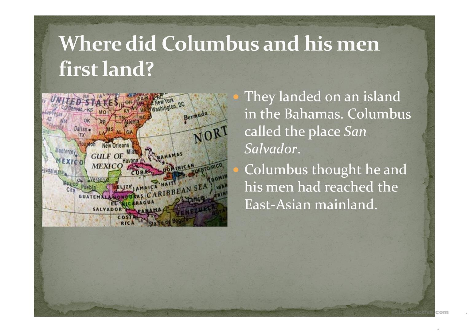 Columbus Day Worksheet