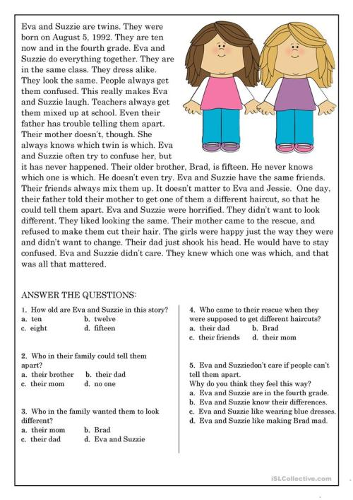 small resolution of Reading Comprehension for beginner and Elementary Students 9 - English ESL  Worksheets for distance learning and physical classrooms