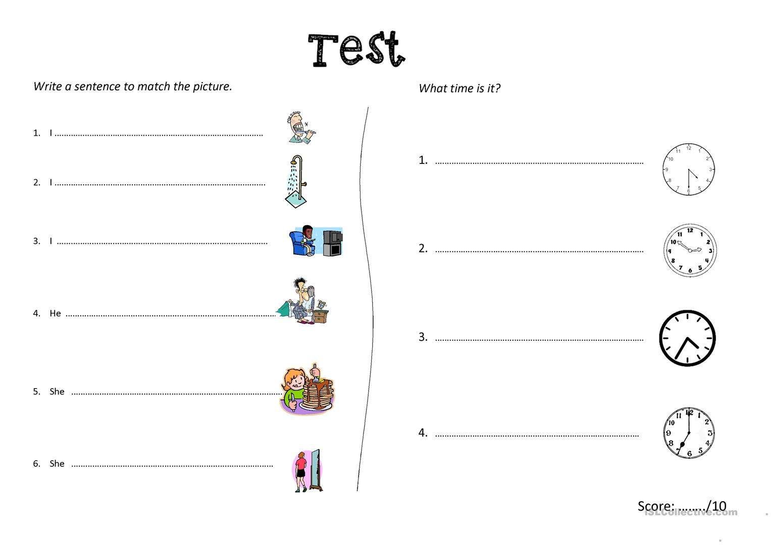 Test X 3 Versions Daily Routine And Time Worksheet