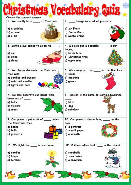 small resolution of English ESL christmas vocabulary worksheets - Most downloaded (76 Results)