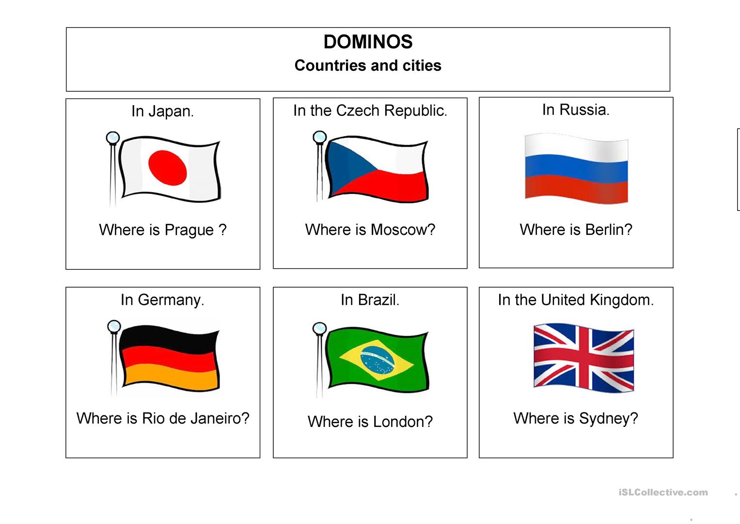 Countries And Cities Worksheet