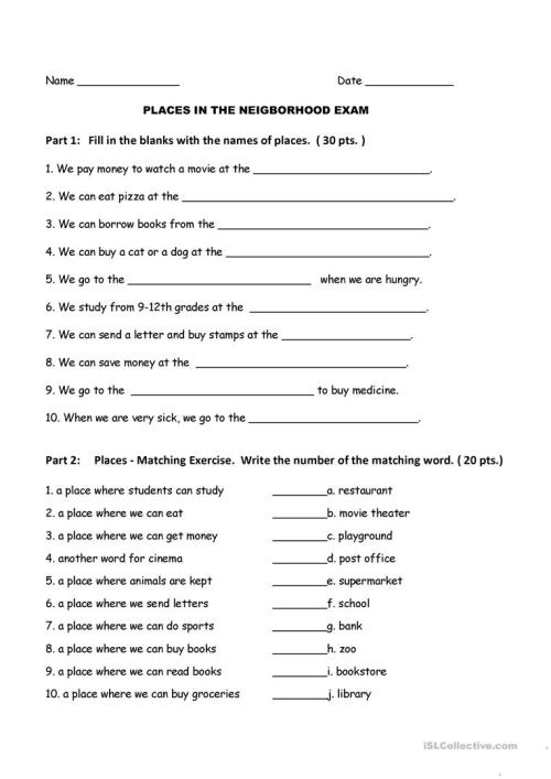 small resolution of English ESL neighborhood worksheets - Most downloaded (13 Results)