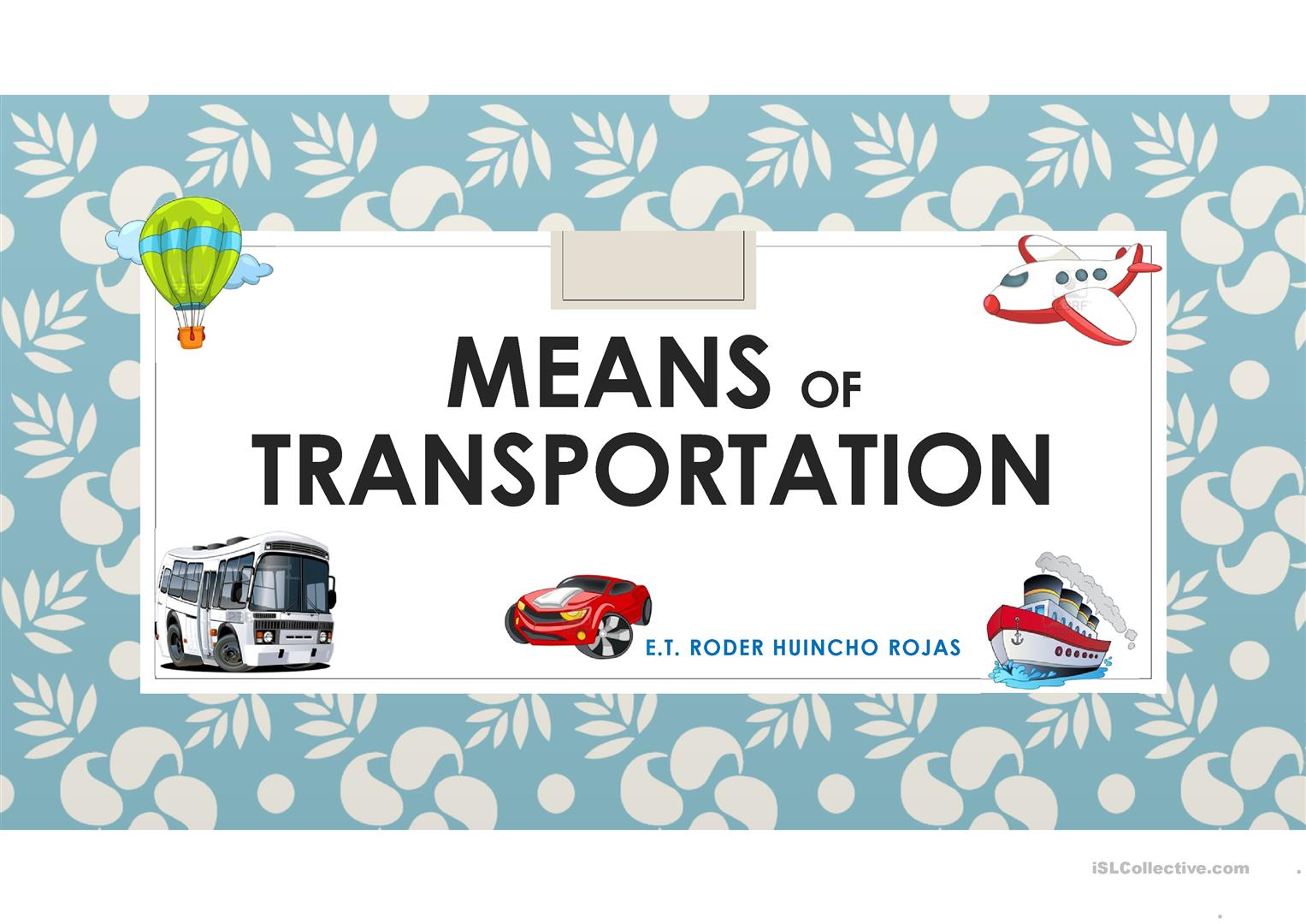 Means Of Transportation Worksheet