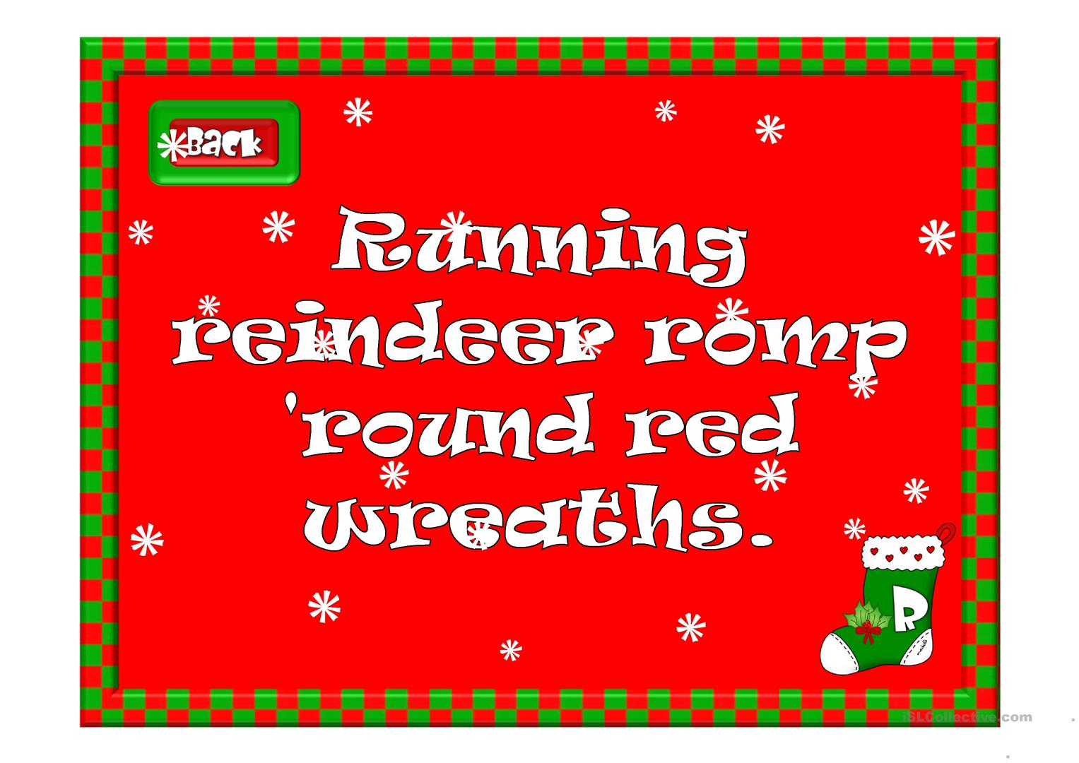 Christmas Tongue Twisters Worksheet