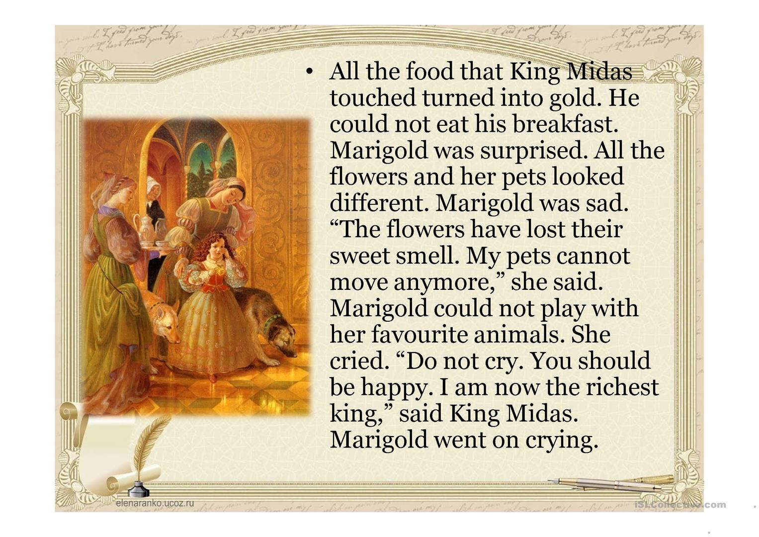 Legend About King Midas Worksheet