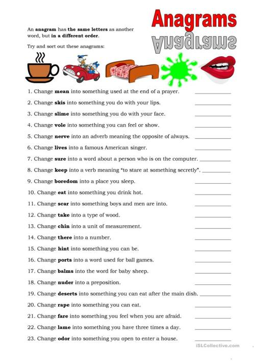 small resolution of English ESL anagrams worksheets - Most downloaded (15 Results)