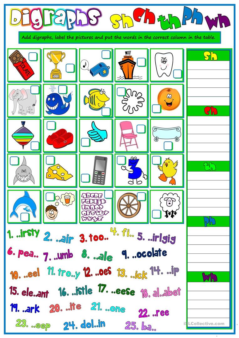 hight resolution of English ESL digraphs worksheets - Most downloaded (15 Results)