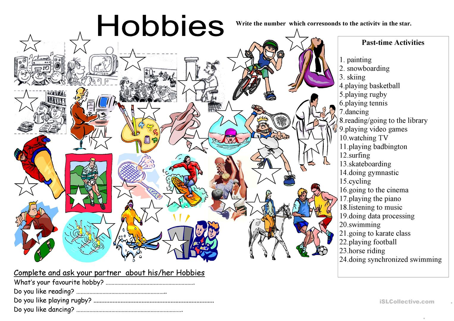 Hobbies List With Drawings Worksheet