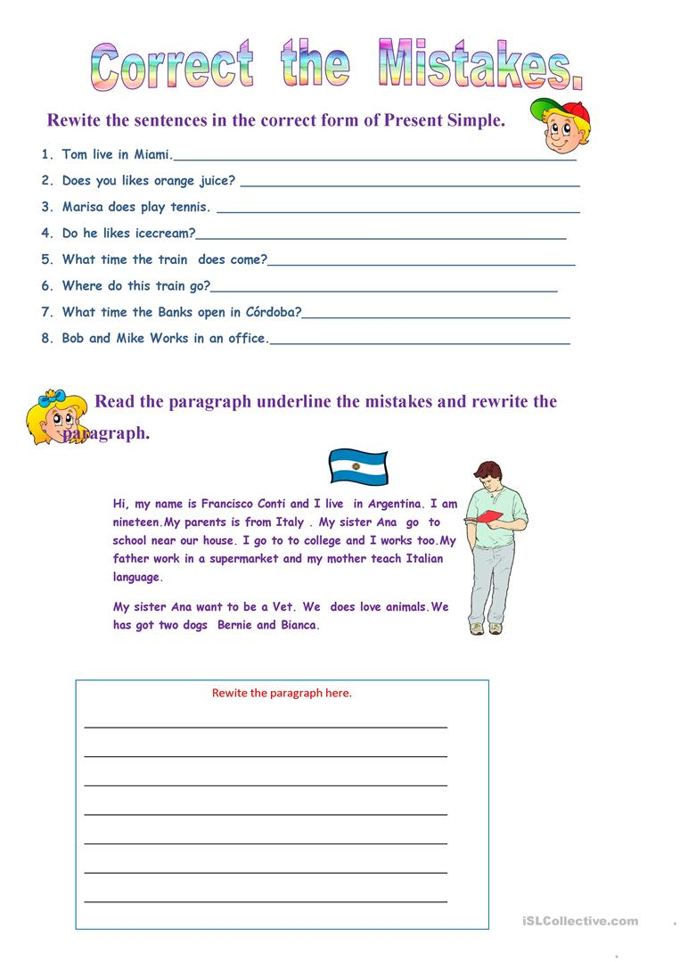 Correct The Mistakes Worksheet