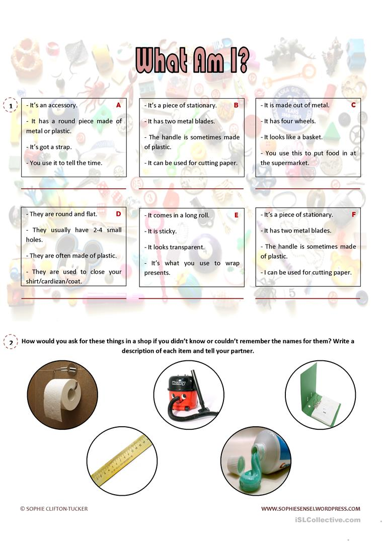 hight resolution of English ESL describing objects worksheets - Most downloaded (14 Results)