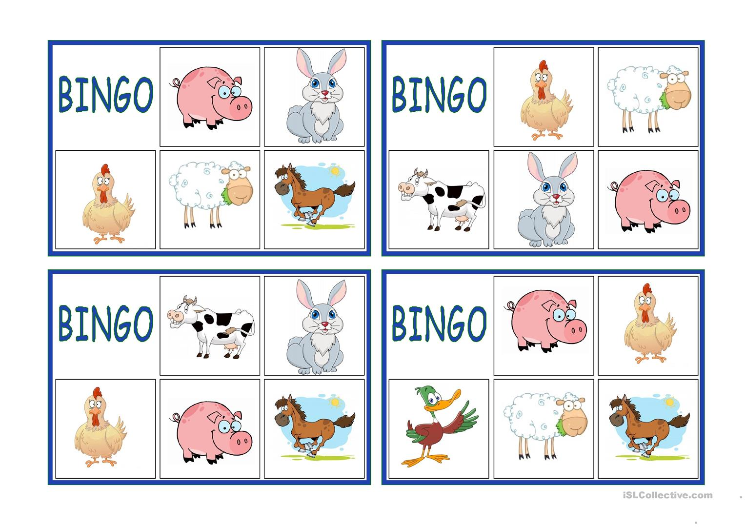 Farm Animals Bingo Worksheet