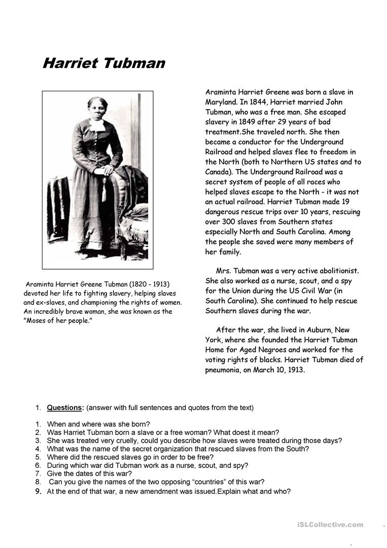 hight resolution of Harriet Tubman - English ESL Worksheets for distance learning and physical  classrooms
