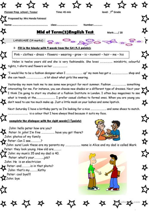 small resolution of mid-term 2 7th grade test - English ESL Worksheets for distance learning  and physical classrooms