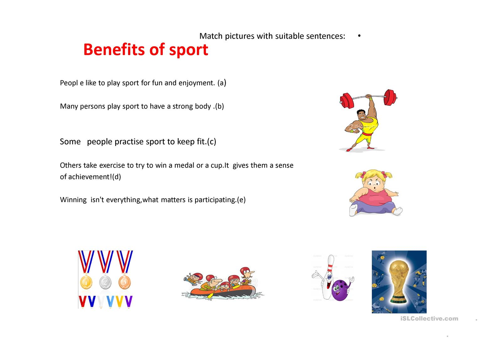 Sport Benefits Worksheet