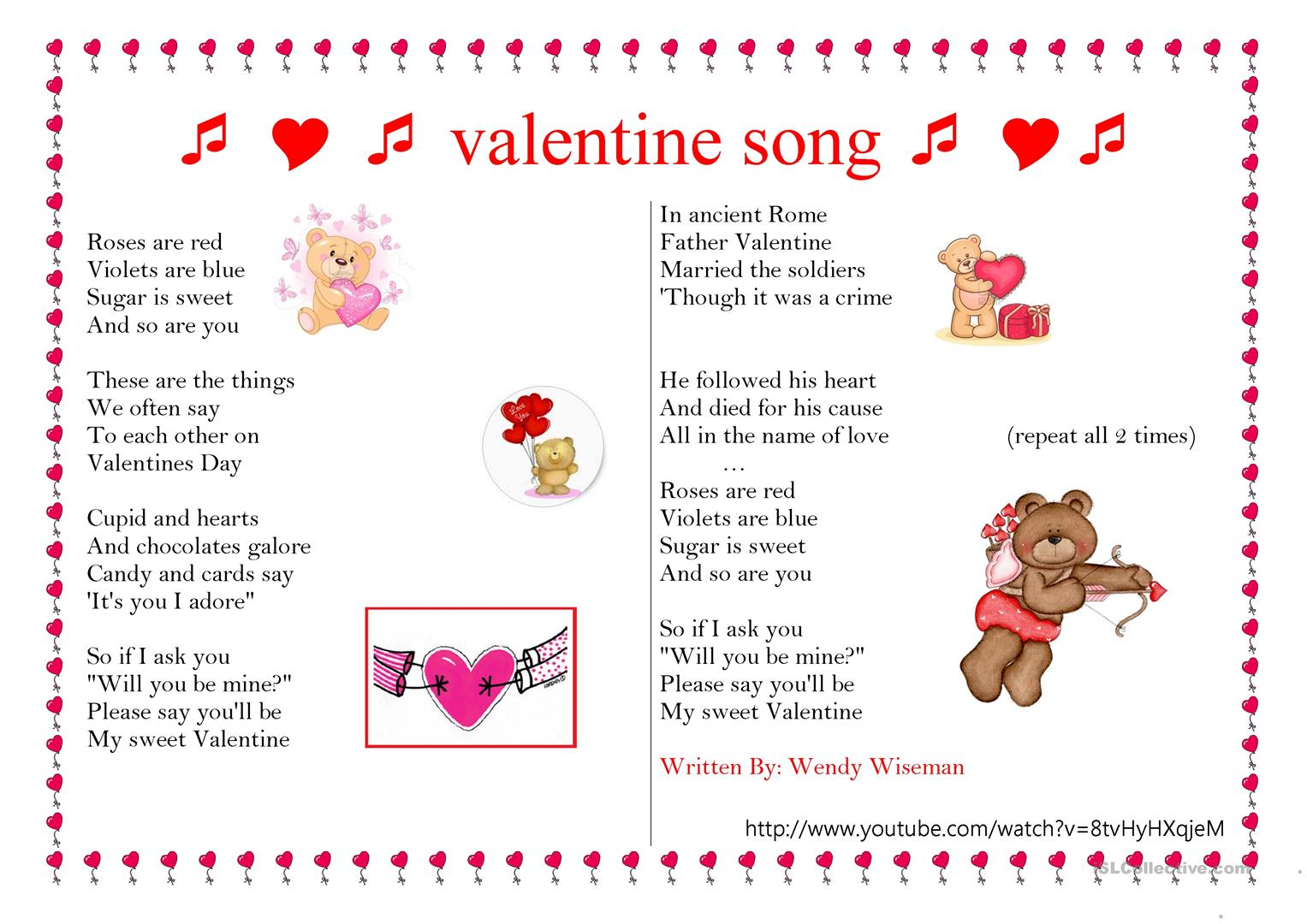 Valentine Day S Song Worksheet