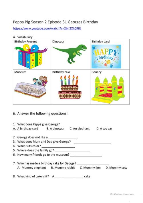 small resolution of worksheet based on peppa pig youtube video