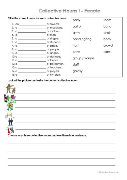 small resolution of Collective Nouns - People - English ESL Worksheets for distance learning  and physical classrooms
