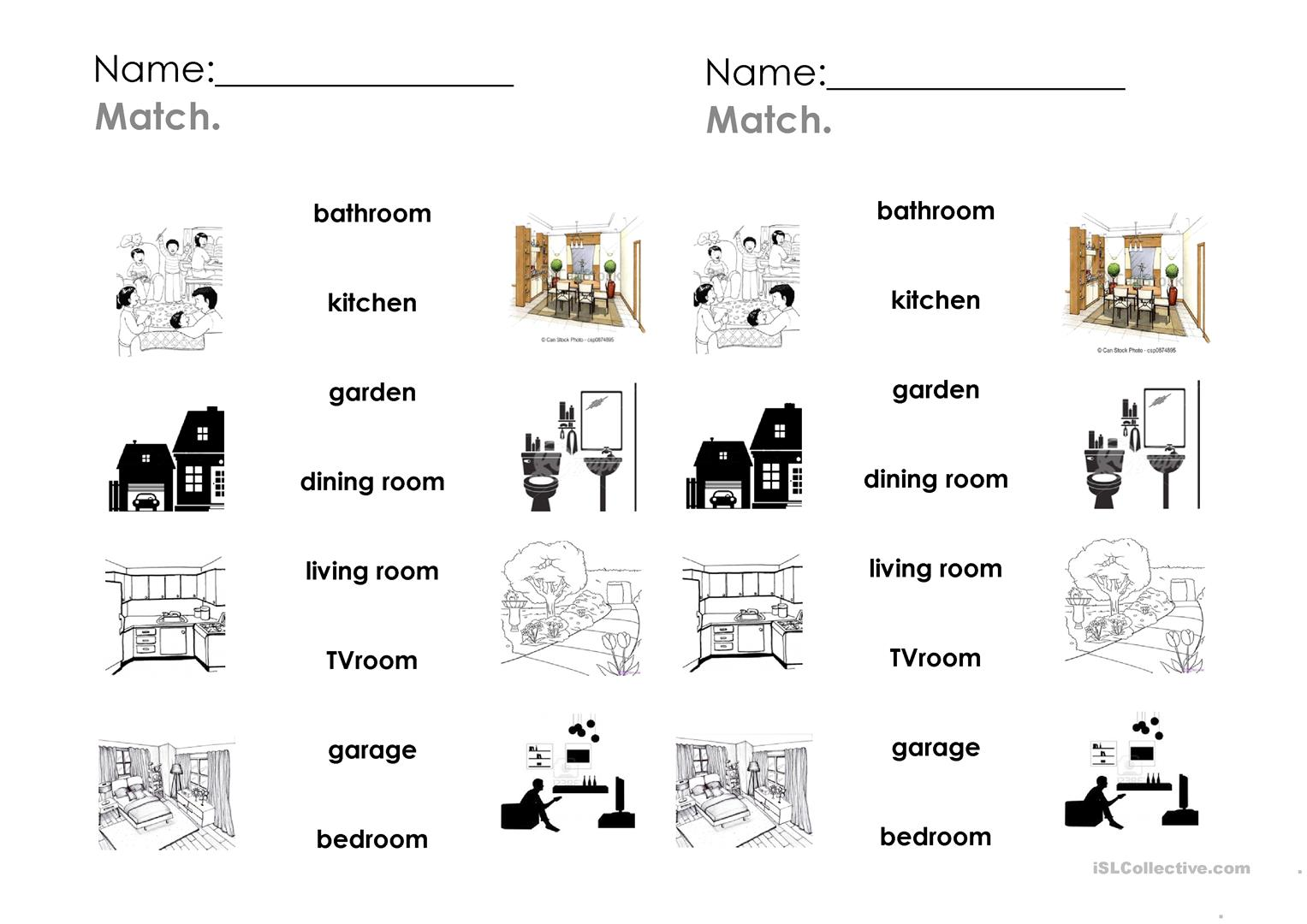 Rooms In The House2 Efl Esl T Worksheets House