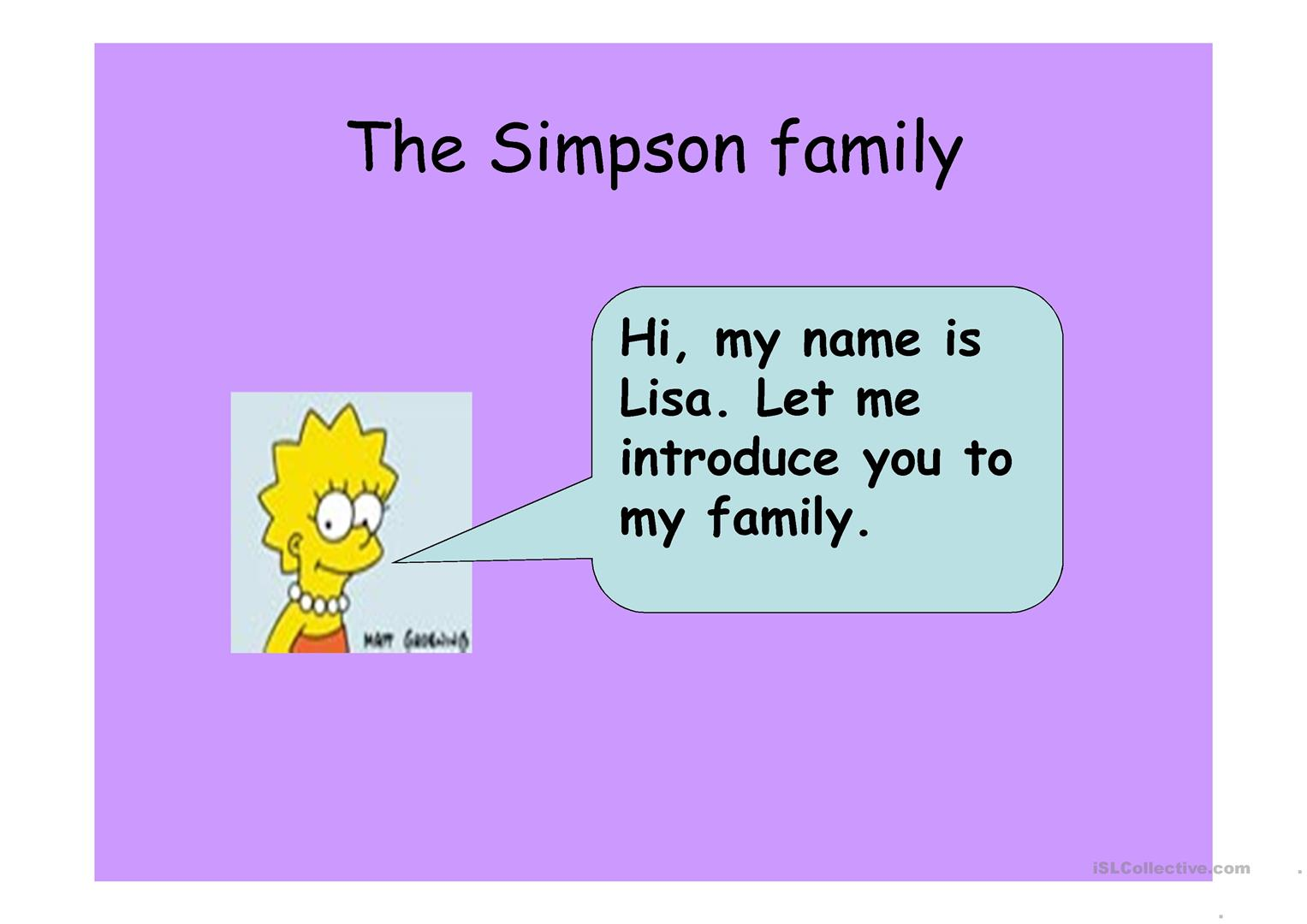 The Simpson Family Worksheet