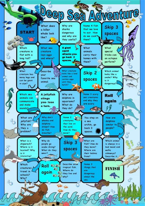 small resolution of Ocean Animals Boardgame - English ESL Worksheets for distance learning and  physical classrooms