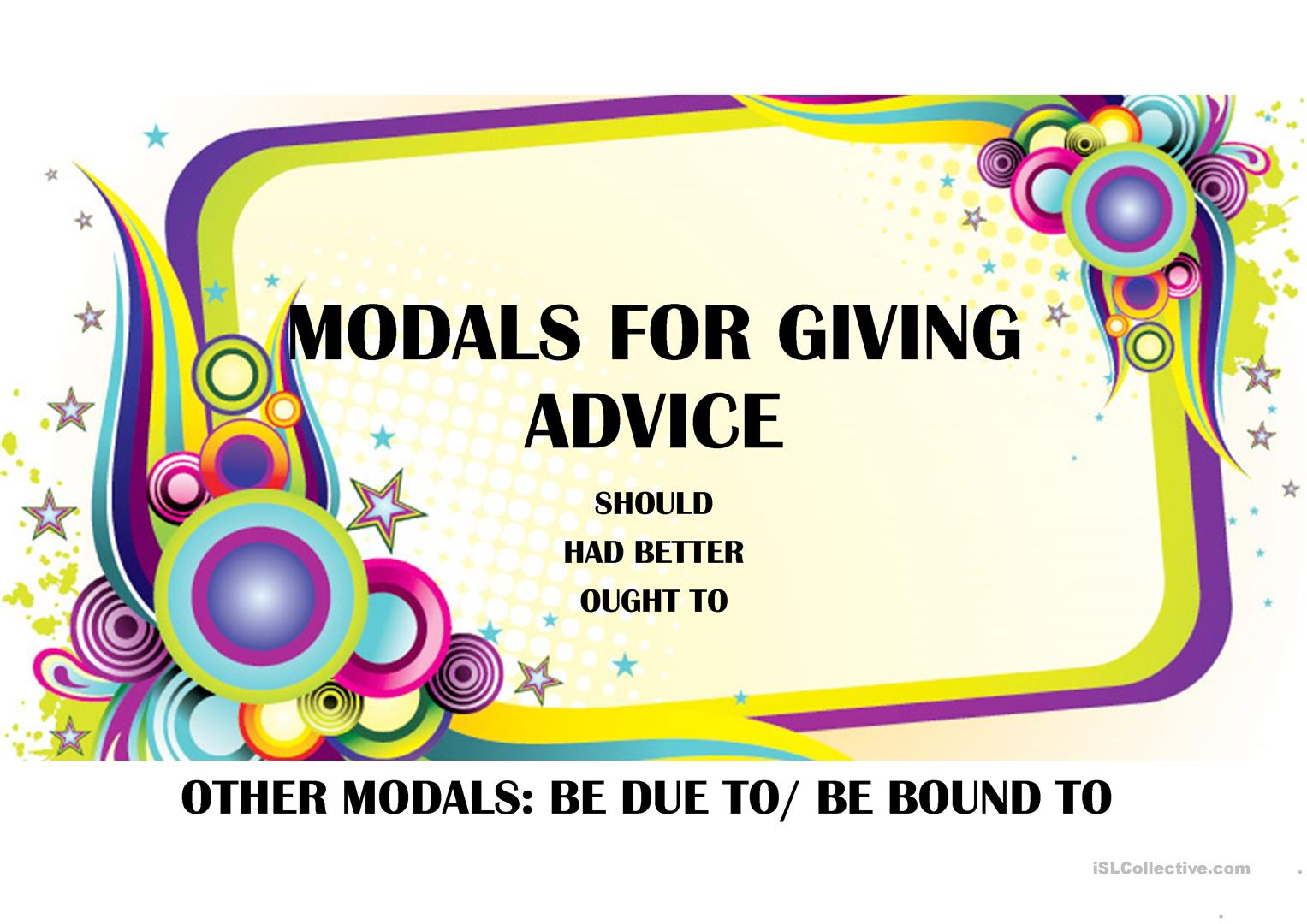 Modals For Giving Advice
