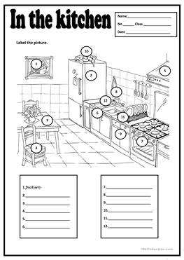 38 FREE ESL in the kitchen worksheets
