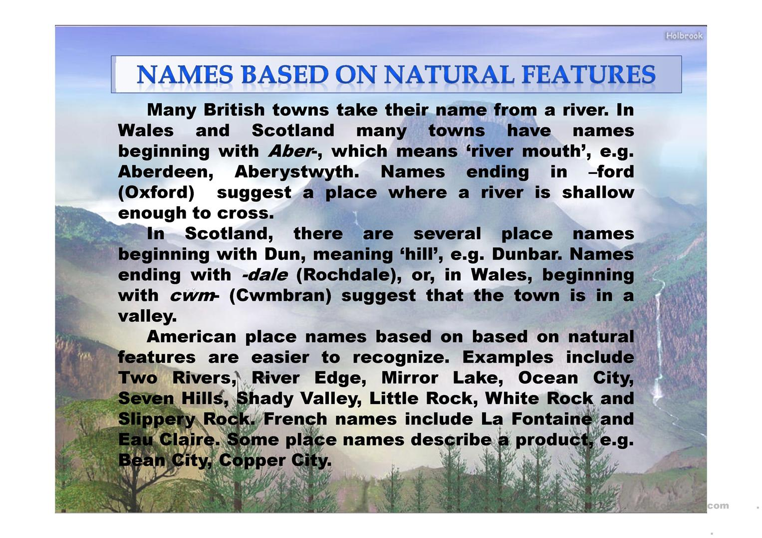 British And American Place Names