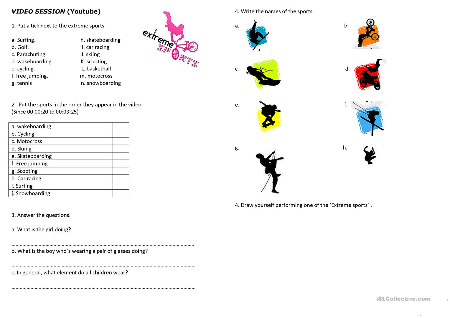 Extreme Sports For Kids Worksheet