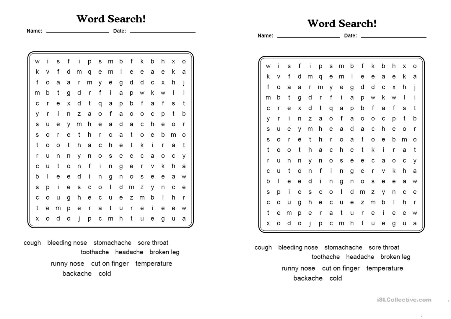 Health Word Search Worksheet