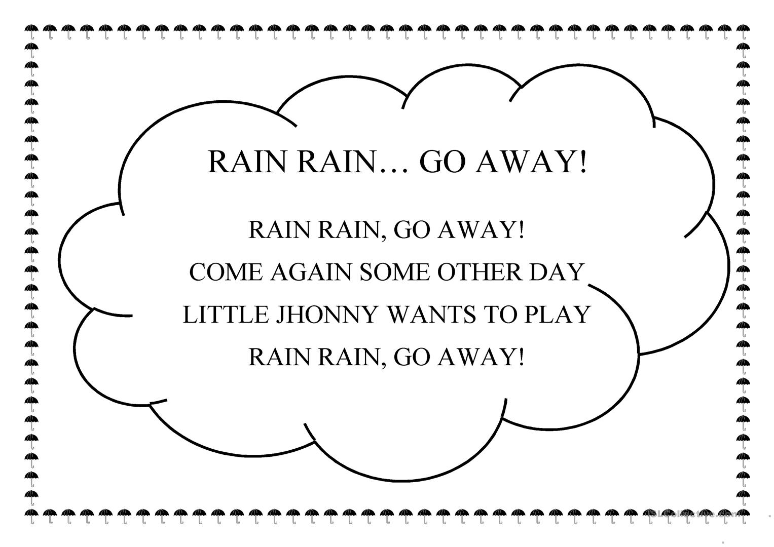 Rain Rain Go Away Worksheet