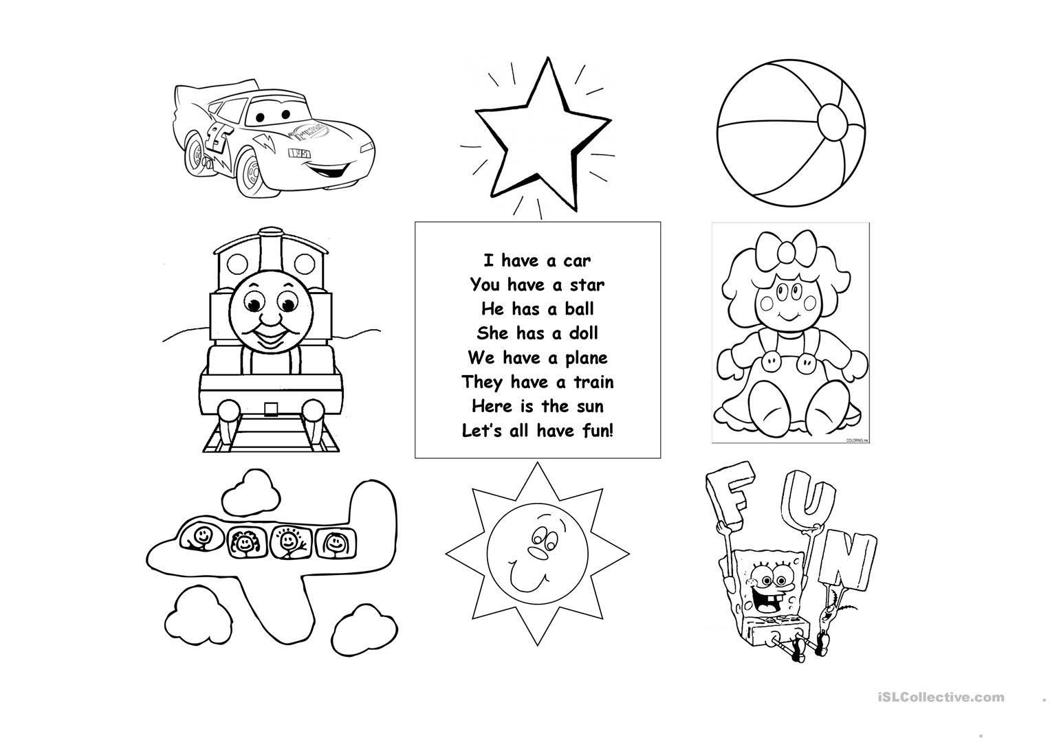 Toys Poem Worksheet