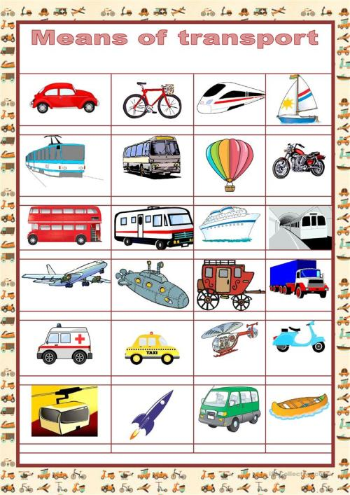 small resolution of Picture dictionary - MEANS OF TRANSPORT - English ESL Worksheets for  distance learning and physical classrooms