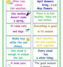 PROVERBS about Weather - English ESL Worksheets for distance learning and  physical classrooms [ 1079 x 763 Pixel ]