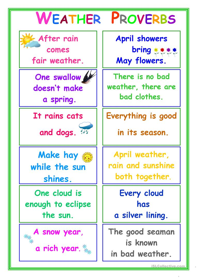hight resolution of PROVERBS about Weather - English ESL Worksheets for distance learning and  physical classrooms