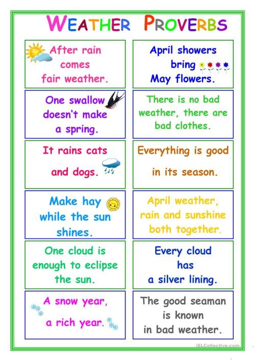 small resolution of PROVERBS about Weather - English ESL Worksheets for distance learning and  physical classrooms