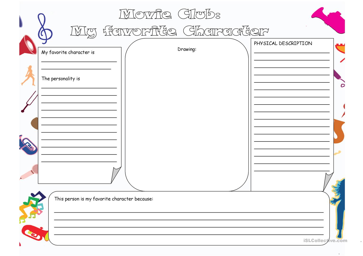 My Favorite Character Worksheet