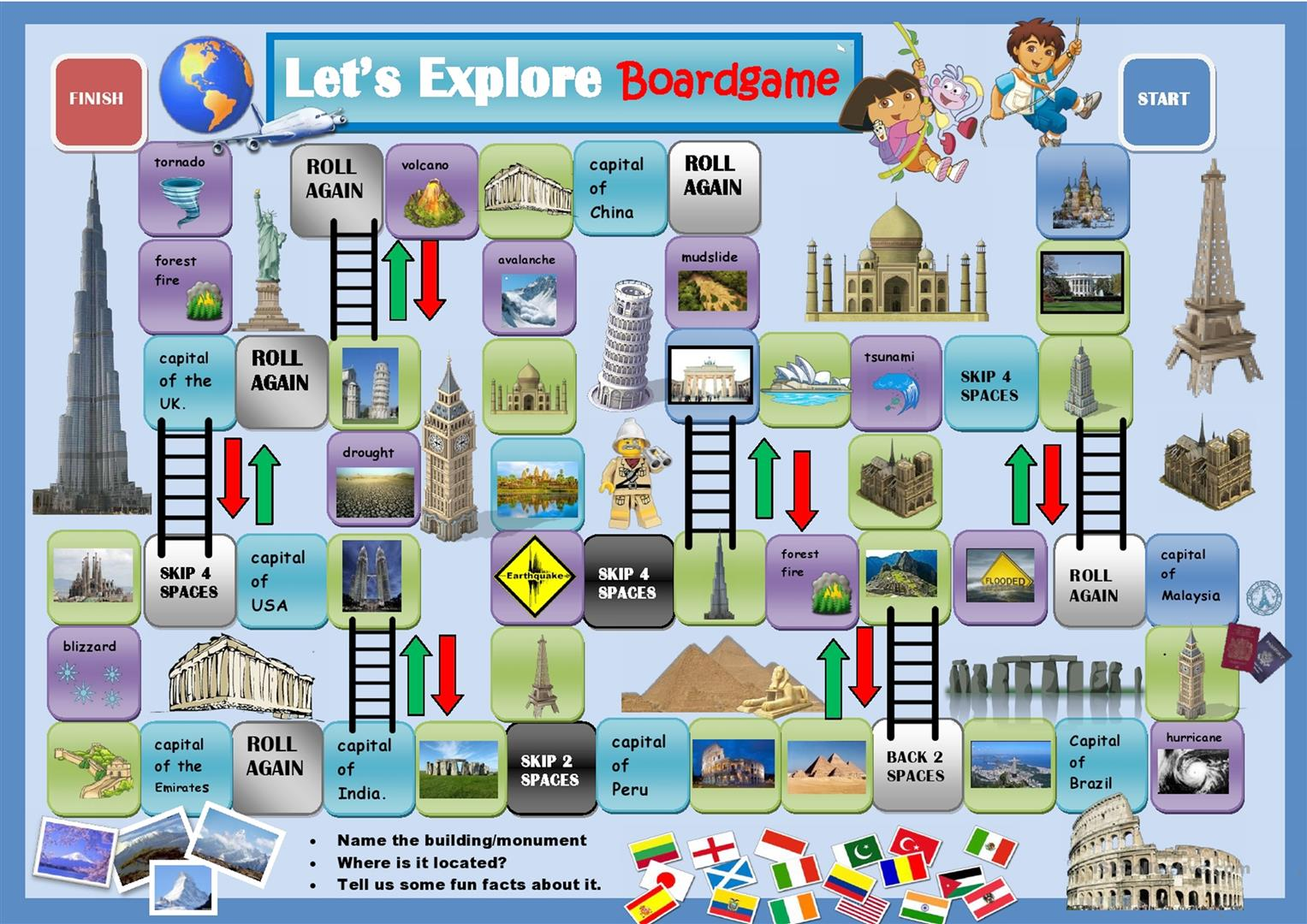Around The World Speaking Activity Boardgame Worksheet