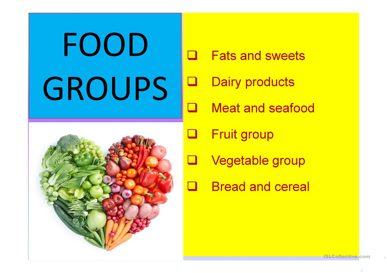 Food Group Flashcards Worksheet