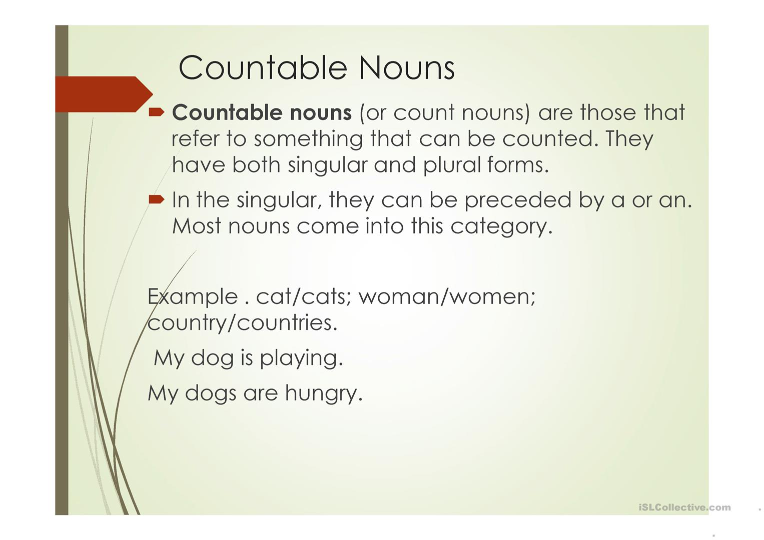 Uncountable And Countable Nouns Worksheet