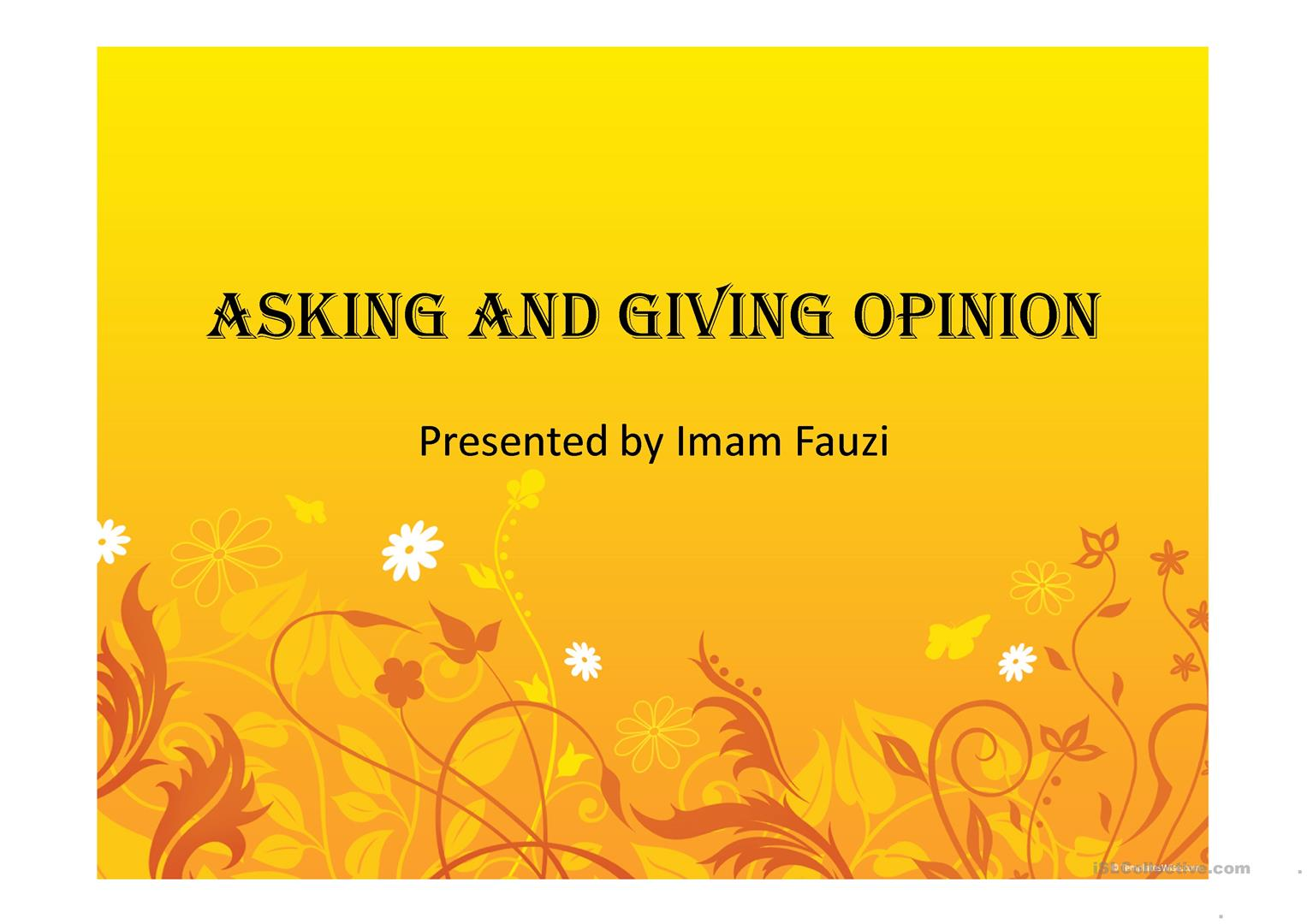 Asking Amp Giving Opinion
