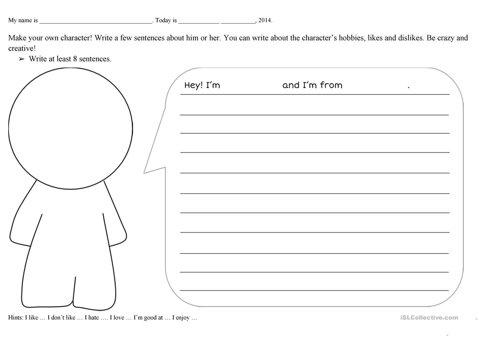 Create A Character Worksheet