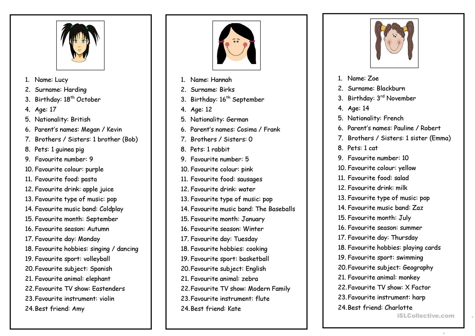 Personal Information Cards Worksheet